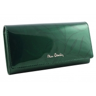 Lakierowany skórzany portfel damski Pierre Cardin, zielony