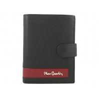 Portfel męski Pierre Cardin RFID ze skóry naturalnej czarny z bordową wstawką