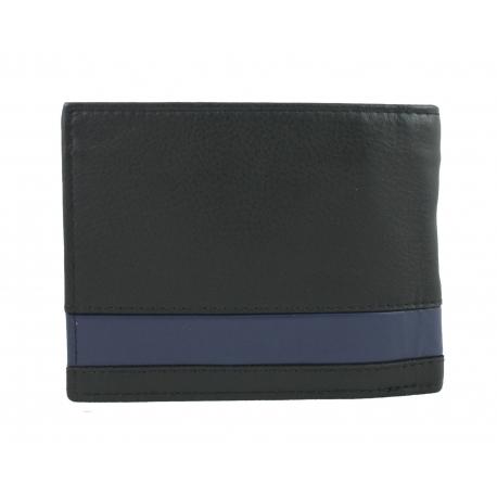 052f83b8258ba Portfel męski Pierre Cardin RFID ze skóry naturalnej czarny z niebieską  wstawką