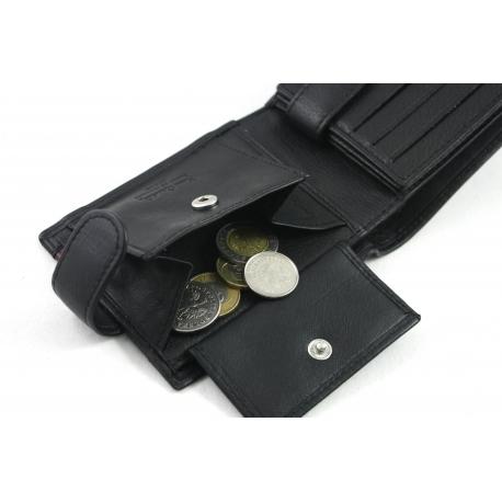 1ca350e56a74d Mały portfel męski Pierre Cardin RFID ze skóry naturalnej czarny z  niebieską wstawką