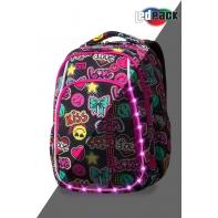 Swiecący plecak szkolny CoolPack LED Strike S 19 L Emoticons A18205 + ładowarka