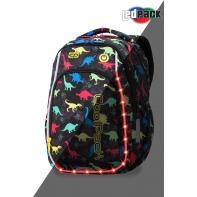 Swiecący plecak szkolny CoolPack LED Strike 19 L Dinosaurs + ładowarka