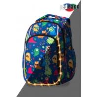 Swiecący plecak szkolny CoolPack LED Strike 19 L Monsters + ładowarka