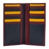 Skórzany portfel damski typu etui na karty marki DuDu®, bordowy + kolorowy środek