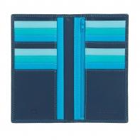 Skórzany portfel damski typu etui na karty marki DuDu®, niebieski + kolorowy środek