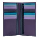Skórzany portfel damski typu etui na karty marki DuDu®, fioletowy + kolorowy środek