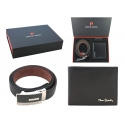 Męski pasek + portfel Pierre Cardin skórzany zestaw prezentowy, czarny