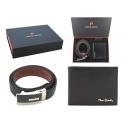 Męski portfel + pasek Pierre Cardin skórzany exclusiv zestaw prezentowy, czarny