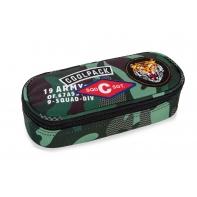 Usztywniany piórnik szkolny Coolpack Campus Camo Green Badges A62110