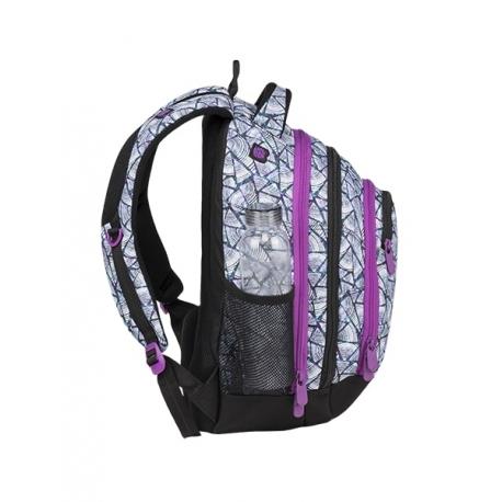 8385e5582af31 Superlekki plecak szkolny Bagmaster, biało-fioletowy w trójkąty ENERGY9B