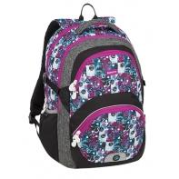 Lekki plecak szkolny Bagmaster we wzorki z różowymi suwakami