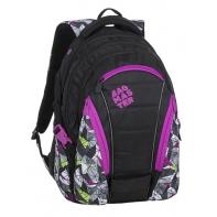 Młodzieżowy plecak Bagmaster trzykomorowy czarny z fioletowymi wstawkami
