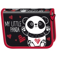 Piórnik dwuklapkowy jednokomorowy Bambino, Panda