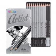 Zestaw do rysowania 12 szt. ołówki + węgiel ARTIST Colorino