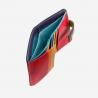 Skórzany mały portfel damski marki DuDu®, czarny z kolorowym środkiem