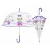 Głęboka przezroczysta parasolka w motylki, fioletowa