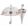 Głęboka przezroczysta parasolka Love w groszki