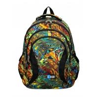 Trzykomorowy plecak szkolny St.Right 29 L, Abstraction BP2