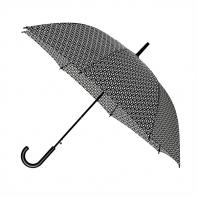 Automatyczna elegancka parasolka damska w białe koła i okręgi