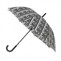Automatyczna elegancka parasolka damska w biało czarny aztecki wzór