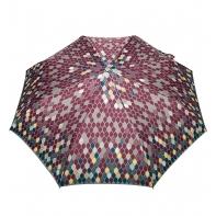 Automatyczna parasolka damska marki Parasol, szaro-bordowa w listki