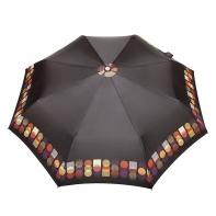 Automatyczna parasolka damska marki Parasol, brązowa z żółtym wzorem