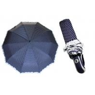 Mocna automatyczna parasolka damska granatowa w groszki z falbanką