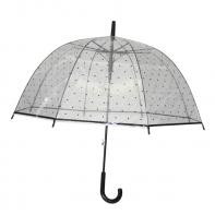 Głęboka duża automatyczna parasolka przezroczysta w grochy, czarna