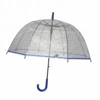 Głęboka duża automatyczna parasolka przezroczysta w grochy, niebieska