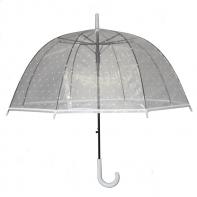 Głęboka duża automatyczna parasolka przezroczysta w grochy, biała