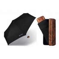 Lekka, parasolka męska Pierre Cardin w praktycznym etui, czarna z brązową rączką