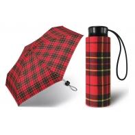 Kieszonkowa, ultra mini parasolka Happy Rain 16 cm, czerwona w kratę