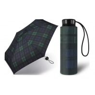 Kieszonkowa, ultra mini parasolka Happy Rain 16 cm, ciemnozielona w kratę