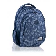Trzykomorowy plecak szkolny młodzieżowy Astra Hash, JEANS CACTUS