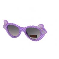 Okulary przeciwsłoneczne dziecięce UV 400 GROSZKI, fioletowo-białe