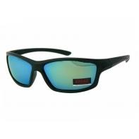 Okulary przeciwsłoneczne męskie UV 400, CZARNE zielone lustrzanki