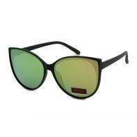 Okulary przeciwsłoneczne damskie UV, CZARNE + różowo-żółte LUSTRZANKI