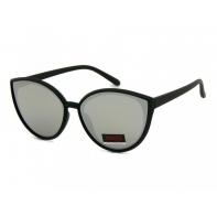 Okulary przeciwsłoneczne damskie UV, CZARNE + srebrne LUSTRZANKI