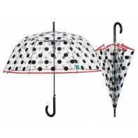 Przezroczysta GŁĘBOKA parasolka automatyczna Perletti, GROCHY