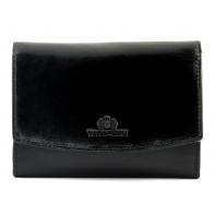 Skórzany portfel damski portmonetka Wittchen kolekcja Italy, CZARNY