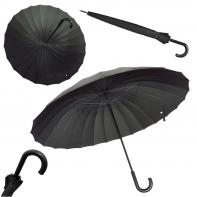 Wytrzymały parasol męski XXL 123 CM 24-BRYTOWY, CZARNY