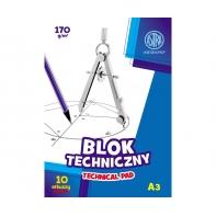 Blok techniczny biały A3 ASTRA 10 arkuszy 170g