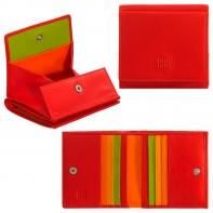 Skórzany mały portfel damski marki DuDu®, czerwony + pomarańcz