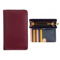 Skórzany portfel damski marki DuDu®, burgund + granat