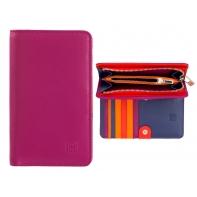 Skórzany damski portfel marki DuDu®, fuksja + pomarańczowy