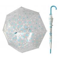 Przezroczysta parasolka w biało-błękitne grochy