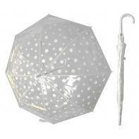 Przezroczysta parasolka w białe grochy
