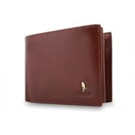 9b74a5a6487cb6 Męski poziomy portfel Puccini P20438 w kolorze brązowym z bogatym  wyposażeniem